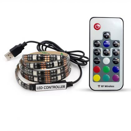 DC 5V 5050 RGB USB LED Strip With 17Keys RF Controller