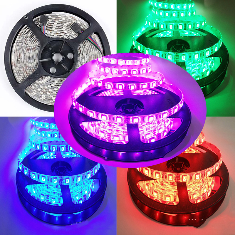 5M 5050 12V 30LED/M RGB Waterproof/ IP20 LED Strip Tape Kit  With 44 key IR controller