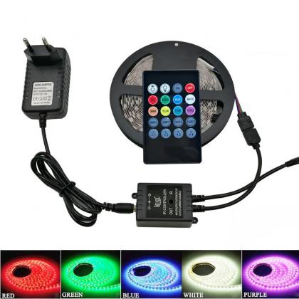 RGB Music Led Strip Lights Waterproof Flexible Tape Rope Light 5M 5050 300 LEDs + 12V 5A Power Supply +20key Remote Controller Kit