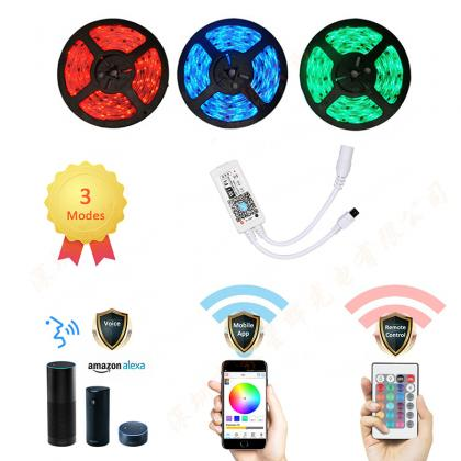 New Wifi Smart Led Light Strip Kit Works with Amazon Alexa, Wireless Smart Phone Controlled Waterproof SMD 5050 16.4Ft(5M) 300 leds RGB Rope Lights