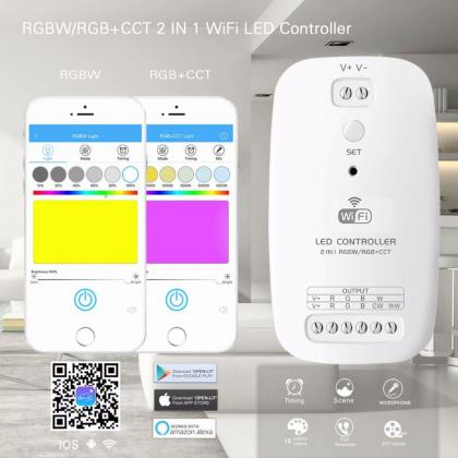Newest RGBW /RGB+CCT 2 in 1 WiFI LED controller dc 9v 12v 24v