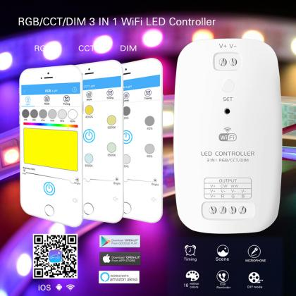 WiFi LED RGB CCT DIM 3 IN 1 Controller WIFI Control iOS Android APP Compatible with Amazon Alexa for 3528 5050 LED Strip