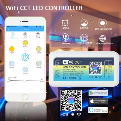 Newest Smart LED WIFI Controller  Dimmer RGB RGBW CCT  DC12/24V Home Lighting Alexa Control Android/IOS APP